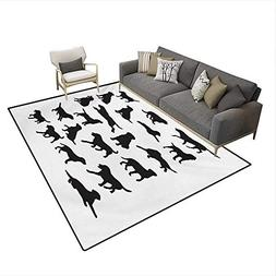 Carpet,Black Silhouettes Pets in Various Positions Friendly