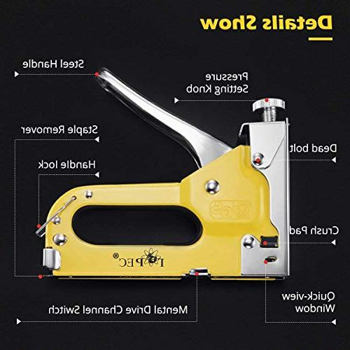 Staple Staples 3-In-1 Heavy Hand Brad Gun Power Tacker For 400 Staples, Free Glove,Yellow