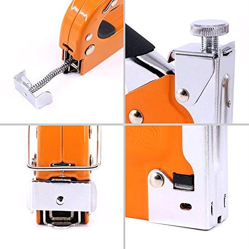 Swpeet 3-in-1 Kit with Remover and Selection Pack,Hand Operated Steel Gun Tacker Upholstery, Fixing Material, Carpentry,