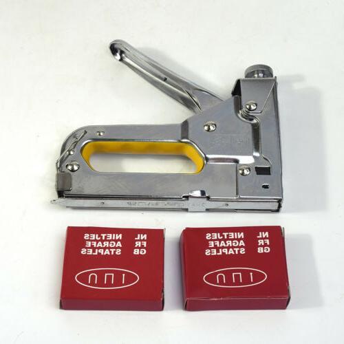 3in1 Staple Nail Manual Duty Tacker Powerful Hand W/ Nail