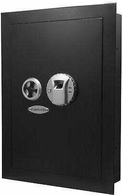 Barska Biometric Wall Safe Left Opening, Black, Medium AX130