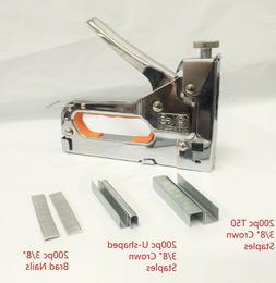 Powerful 3 Way Tacker Staple Gun Stapler Kit w/600 Staples &